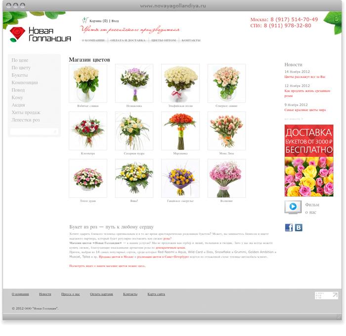 Интернет магазин цветов новая голландия